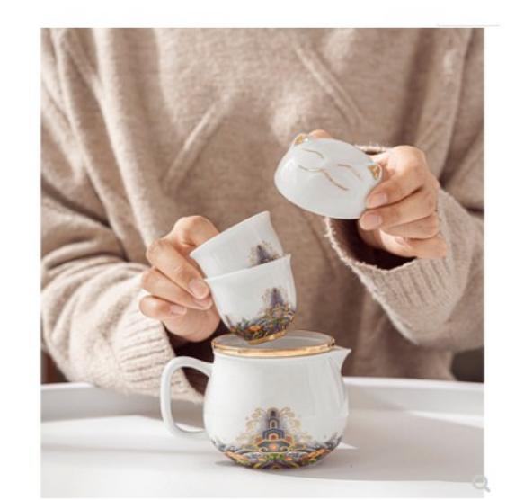 快客杯一壺二杯便攜陶瓷旅行茶具套裝家用可愛防燙茶杯戶外泡茶壺