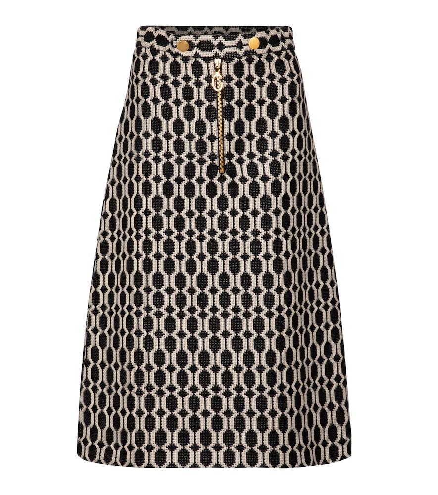 Tweed jacquard midi skirt