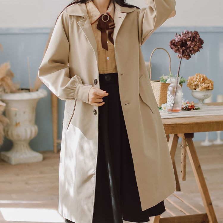 風衣 風衣外套 長款外套 大衣 新款流行風衣女中長款小個子秋冬大衣矮個子150cm百搭外套