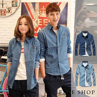 Free Shop【QTJCS001】日韓街頭極簡風格口袋素色素面水洗單寧長袖襯衫牛仔襯衫(二色)
