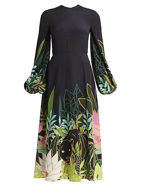 Panther Jungle-Print Silk Flare Dress