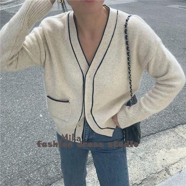 依米迦 毛衣外套 獨特設計線條邊單口袋加厚毛衣短外套