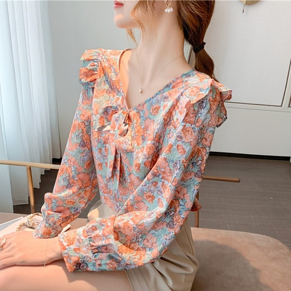 2021秋季新款法式復古碎花長袖雪紡衫v領荷葉邊寬鬆顯瘦上衣女裝 韓國時尚週