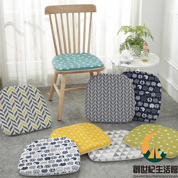 馬蹄形實木椅子座墊家用保暖加棉椅墊四季日式棉麻坐墊餐椅墊【創世紀生活館】
