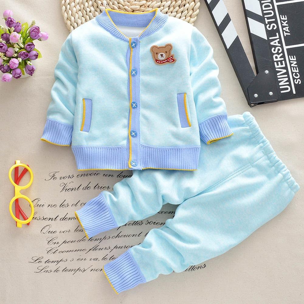 嬰兒秋冬套裝 3-6個月寶寶衣服加絨1-2-3歲男童女童保暖衣兩件套