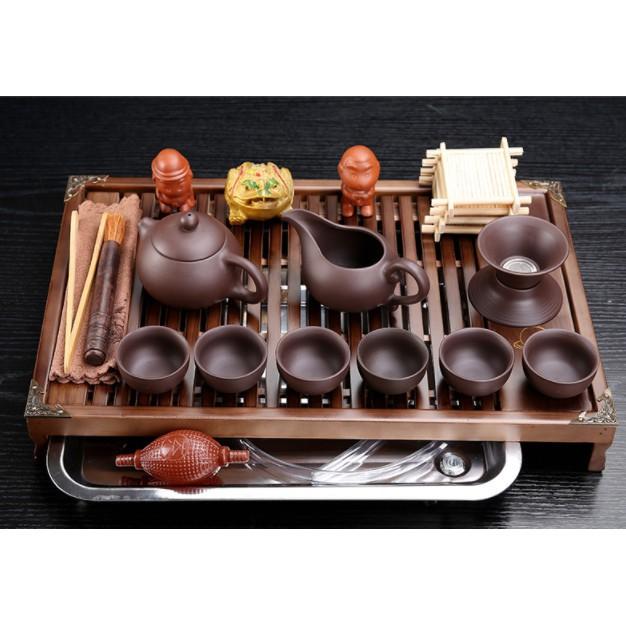 紫砂陶瓷功夫茶具套裝家用小型茶杯辦公實木小茶盤抽屜式茶臺整套