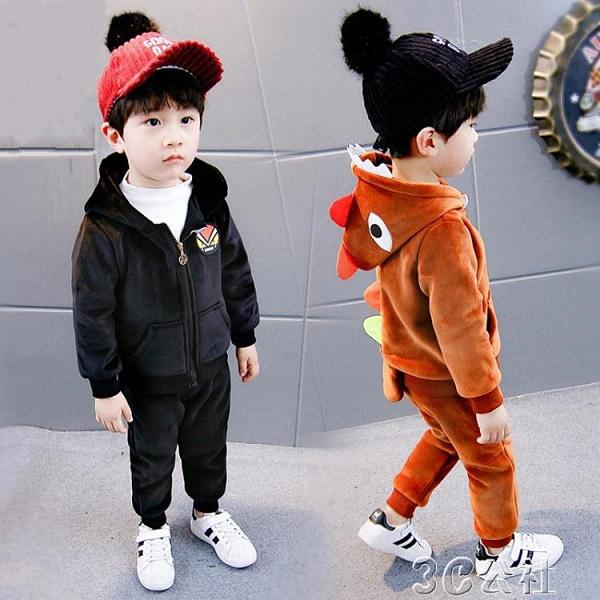 兒童運動套裝 童裝男童秋冬套裝兒童金絲絨女童加絨加厚衛衣1-2-34歲寶寶兩件 快速出貨
