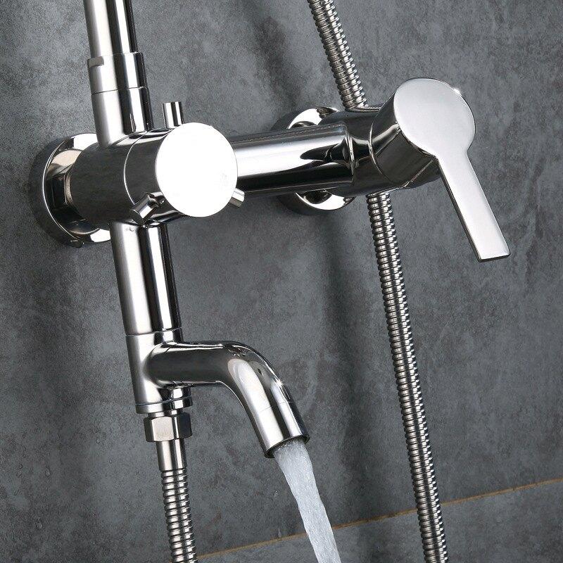 304不銹鋼鏡面淋浴器花灑套裝 冷熱鏡面亮光升降鏡面沐浴花灑套裝