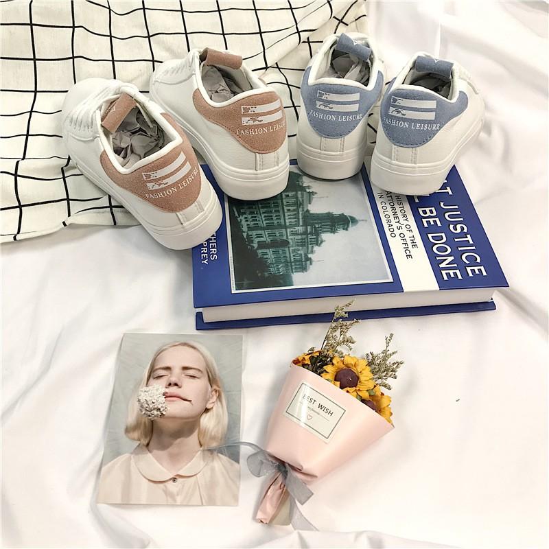 春新款韓版小白鞋女學生百搭皮面滑板鞋ulzzang帆布鞋遠波585
