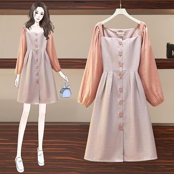 大碼洋裝 秋裝甜美可鹽可甜仙女胖mm排扣氣質連身裙長袖風衣連身裙 芊墨左岸