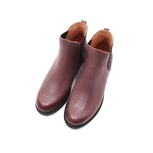 【南紡購物中心】WALKING ZONE (女)造型拼接粗跟短筒靴 女鞋-咖(另有黑)