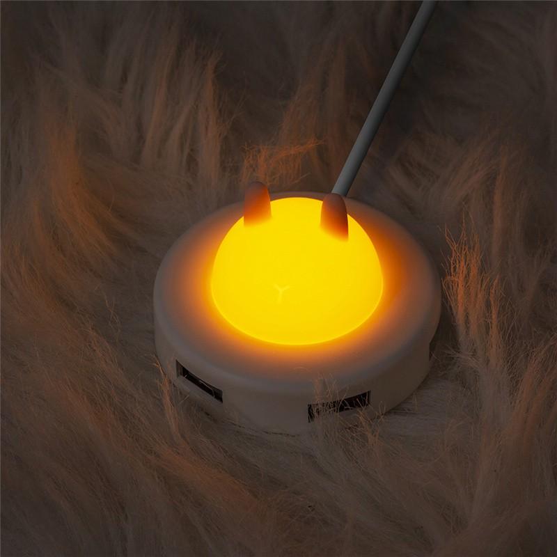 夜燈卡通usb擴展器電源轉換接頭多口type-c筆記本電腦拓展塢多用功能外接U盤一拖四usn接口延長線hub集分線器