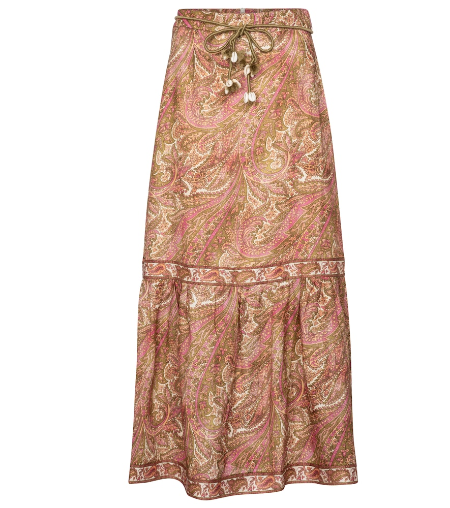 Brighton paisley linen midi skirt