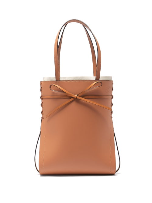 Loewe - Ikebana Whipstitched Leather Tote Bag - Womens - Tan
