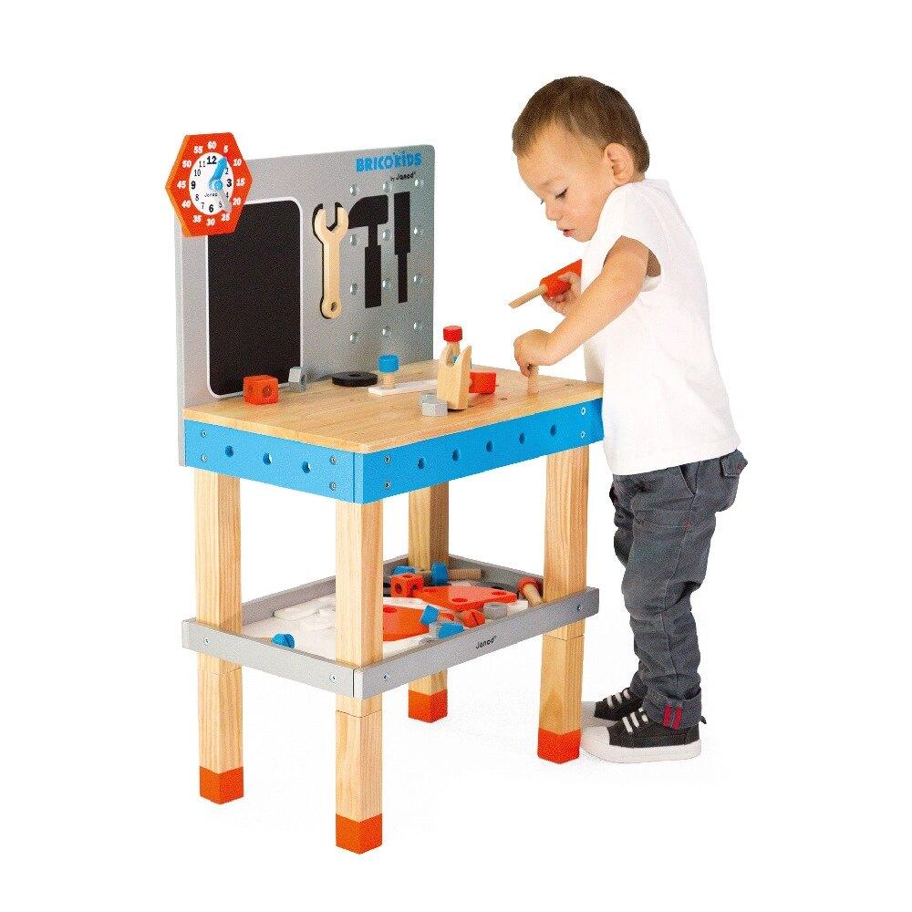 【法國Janod】小木匠創意玩-站式工作台(藍橘款)/聖誕節禮物/聖誕禮物/兒童節禮物/家家酒/生日禮物