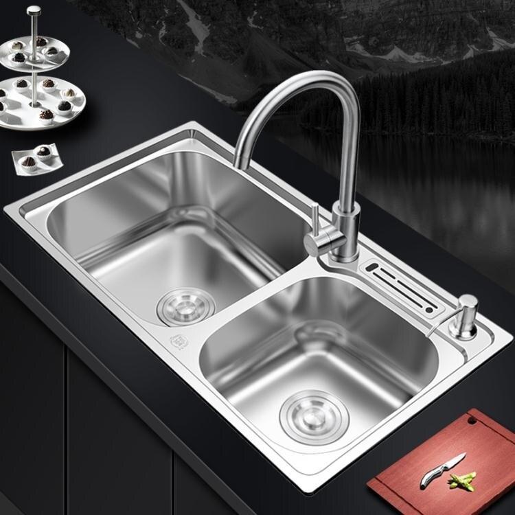 304不銹鋼廚房水槽雙槽水池一體加厚手工洗碗池家用單洗菜盆套餐yh