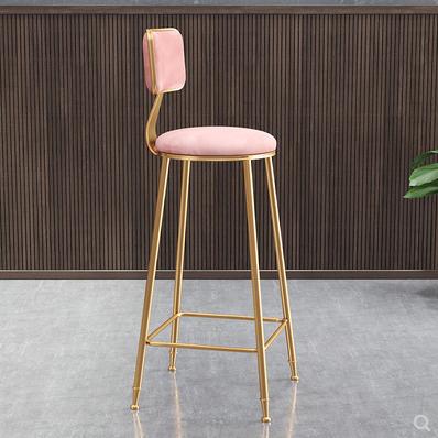 沙發北歐ins簡約金色吧台椅子靠背高腳網紅吧凳前台餐廳休閒椅QM