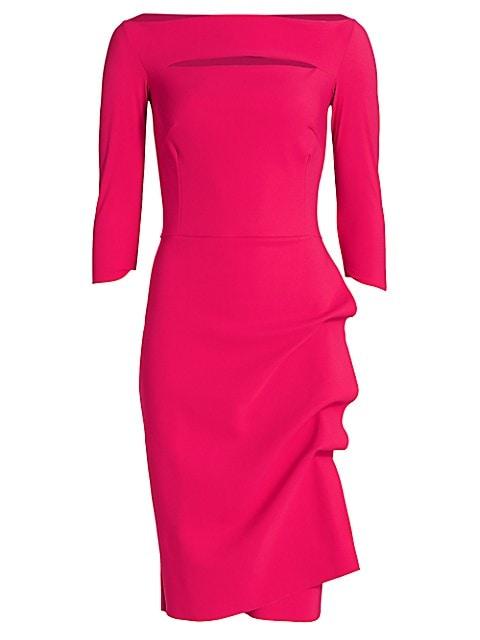 Kate Ruffled Three-Quarter Sleeve Bodycon Dress
