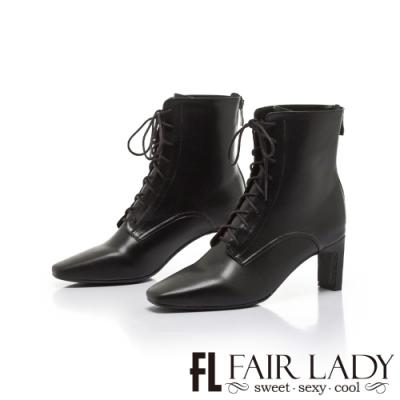 FAIR LADY纖腿對策.拼接異材後拉鍊綁帶扁跟靴 黑