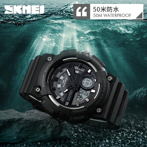 []時尚電子錶 雙顯男士防水多功能運動錶LED戶外學生兒童手錶