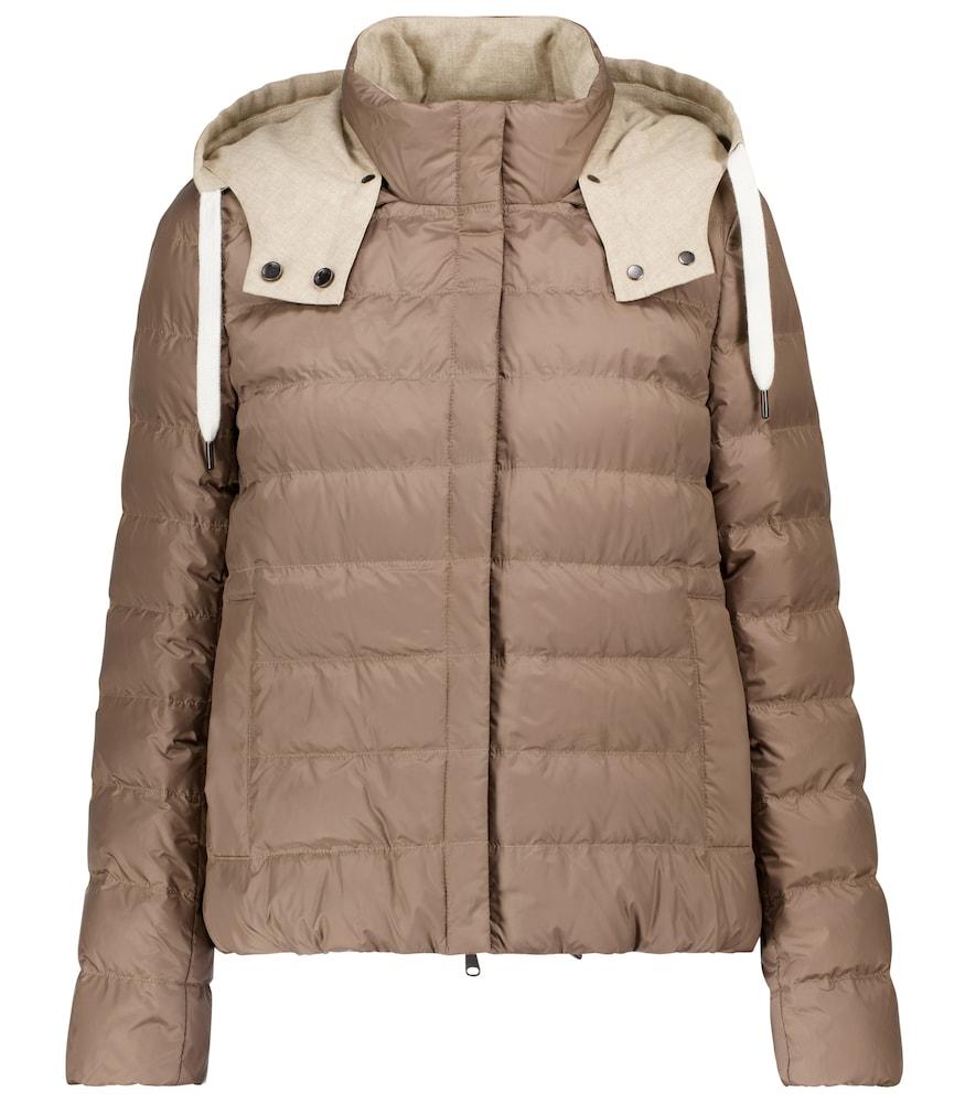 Hooded taffeta down jacket