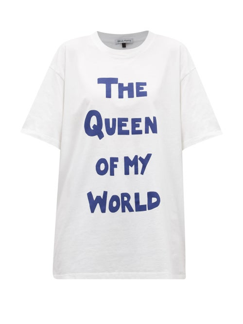 Bella Freud - The Queen Of My World-print Cotton-jersey T-shirt - Womens - White