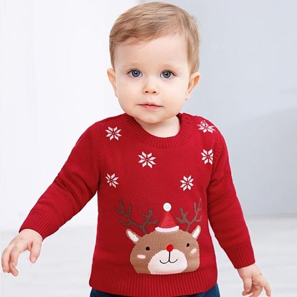 聖誕兒童服裝 童裝秋冬兒童米老鼠圣誕毛衣加絨卡通可愛男女童長袖圓領套頭韓版 莎瓦迪卡