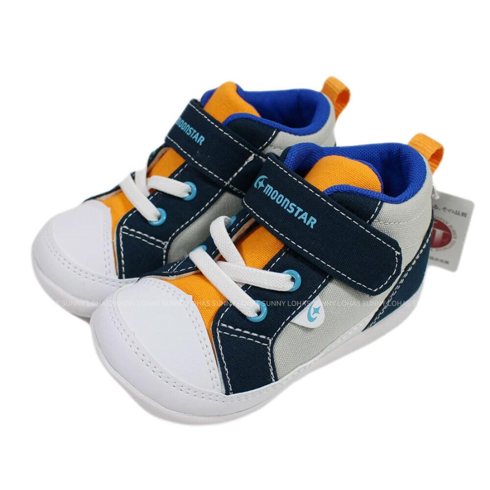 (bz) moonstar 寶寶鞋 機能童鞋 2e寬楦 學步鞋 帆布鞋 軟底 mscnb2473灰藍
