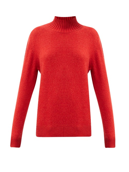The Elder Statesman - Oversized High-neck Cashmere Sweater - Womens - Red
