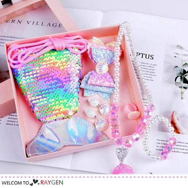 女童夢幻魚尾亮片零錢包 項鍊 髮夾 飾品 7件/組 禮盒