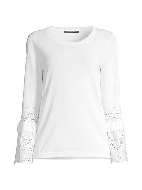 Claudette Fringe Bell-Sleeve Sweater