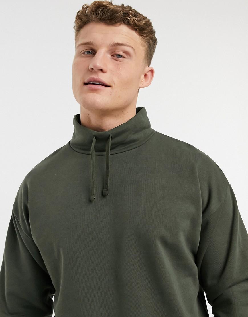 New Look drawstring funnel neck sweat in khaki-Green