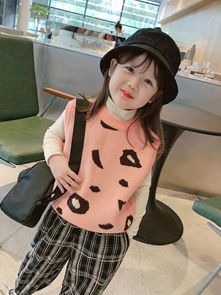 兒童馬甲 童裝2020新款女童針織豹紋馬甲兒童秋冬韓版無袖上衣寶寶洋氣秋裝 莎瓦迪卡
