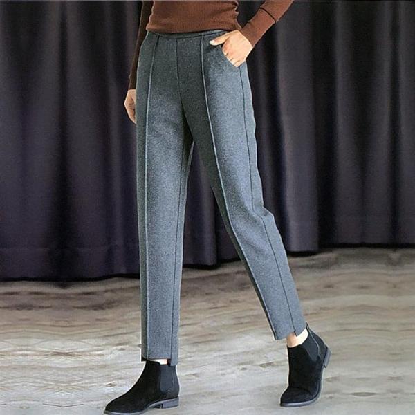 毛呢褲 毛呢哈倫褲子女士呢子九分褲2021新款秋冬季休閒寬鬆小腳西褲外穿 韓國時尚週