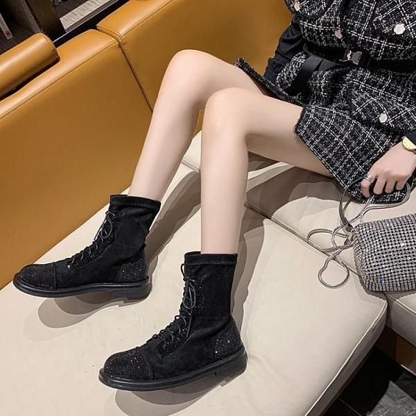 現貨 長靴帥氣長筒靴女秋季新款時尚水鑚繫帶不過膝馬丁靴騎士靴潮