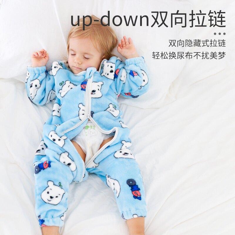 睡袋嬰兒春秋分腿寶寶睡袋紗布幼兒童防踢被秋冬款四季通用款神器