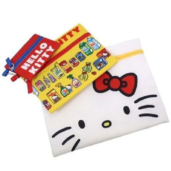 小禮堂 Hello Kitty 帆布扁平收納包組 帆布化妝包 文具袋 零錢包 (3入 紅黃 大臉) 4979274-31470
