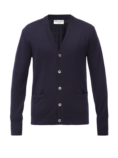 Officine Générale - Nina Merino-wool Cardigan - Mens - Navy