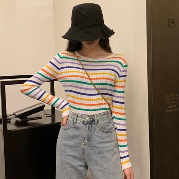 甜美彩虹條紋彈力針織衫女秋季新款修身顯瘦圓領薄款長袖上衣