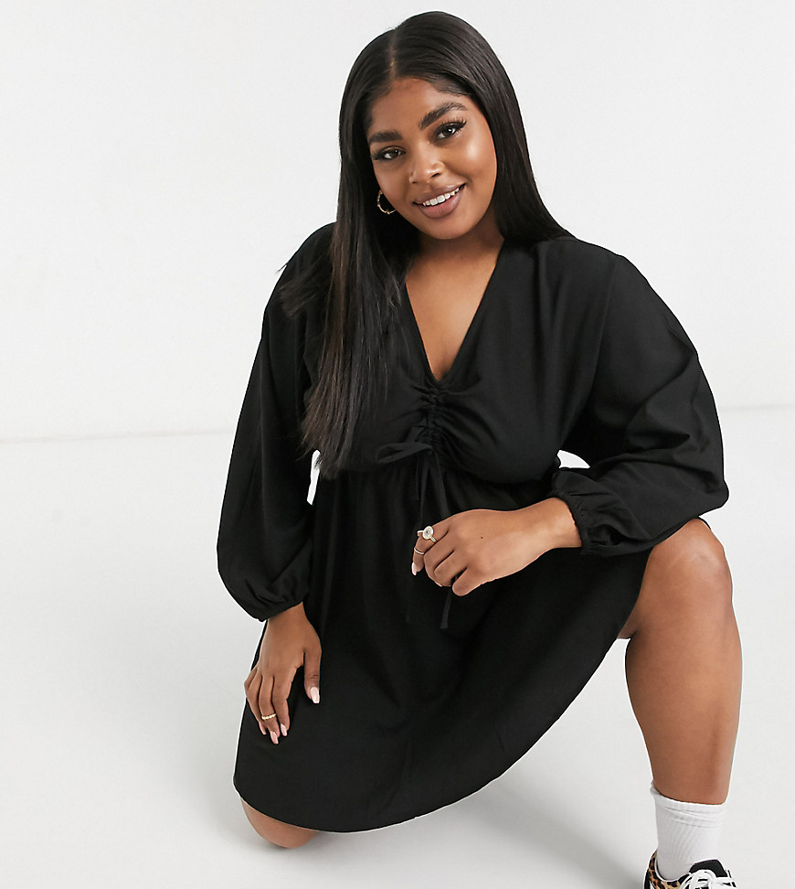 Yours mini dress with ruched detail in black