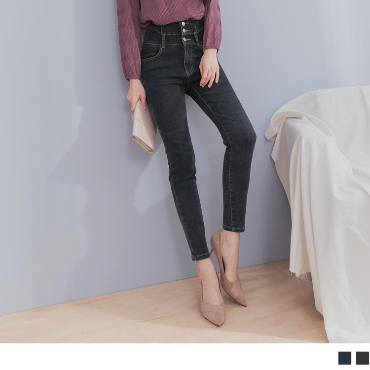 韓系高腰造型剪裁排釦設計刷色窄管牛仔褲