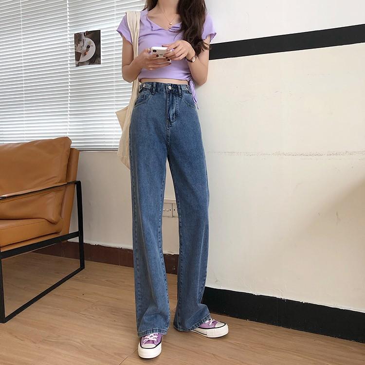 腰圍可調整~版型超讚顯瘦高腰牛仔長褲直筒拖地褲