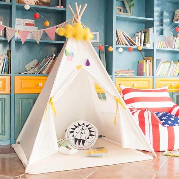 兒童帳篷 印第安兒童帳篷室內游戲屋寶寶玩具讀書角公主房裝飾野餐拍照TW【快速出貨八折下殺】