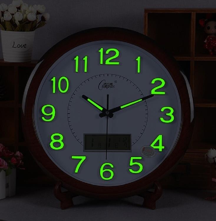 【聖誕節活動】康巴絲靜音 夜光掛鐘 時尚客廳掛鐘簡約現代臥室萬年歷壁式石英鐘