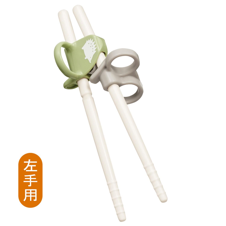 日本 Combi - 三階段彈力學習筷-左手-刺蝟綠