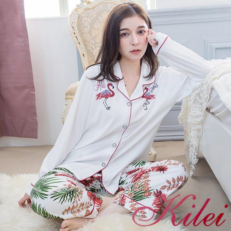 【Kilei】秋冬款北歐風植物圖騰紅鶴英字坑條紋長袖二件式睡衣組XA4359(純淨白色)全尺碼