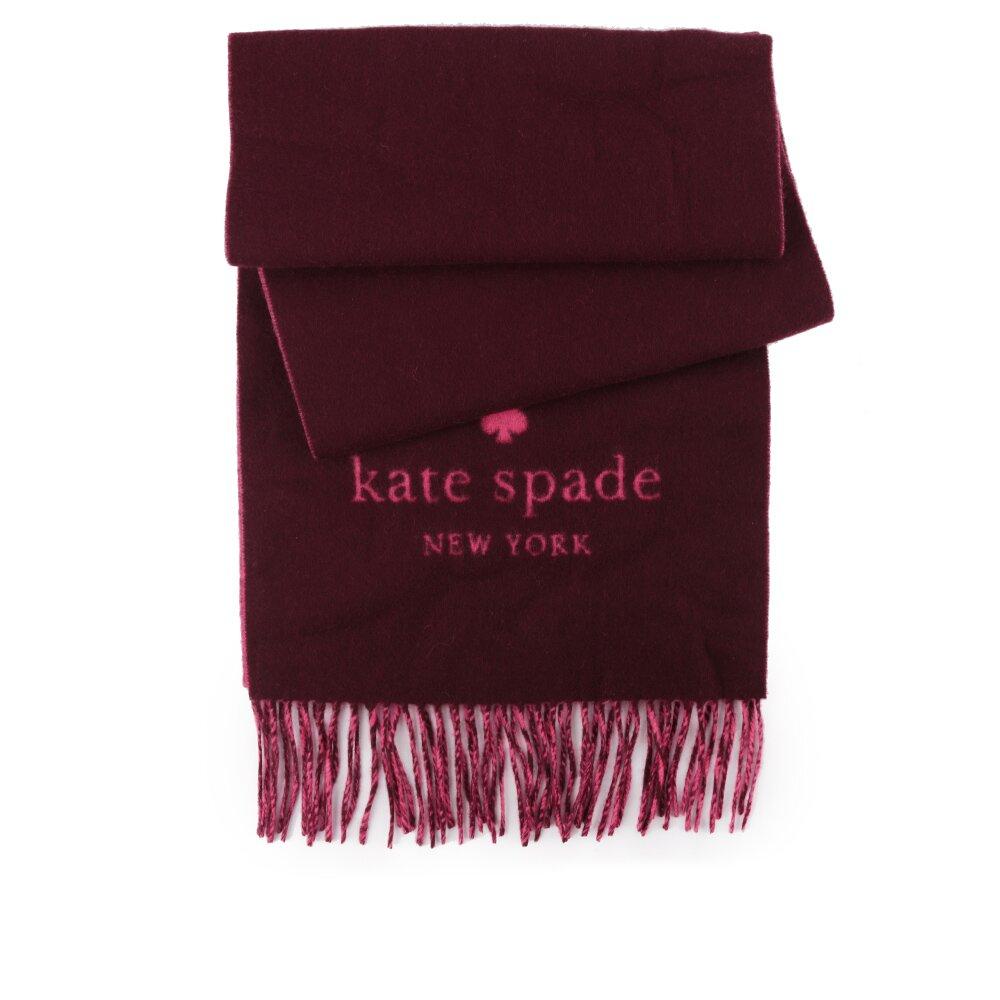 KATE SPADE Logo混羊毛雙色圍巾(粉色/酒紅色) KS1002738 603