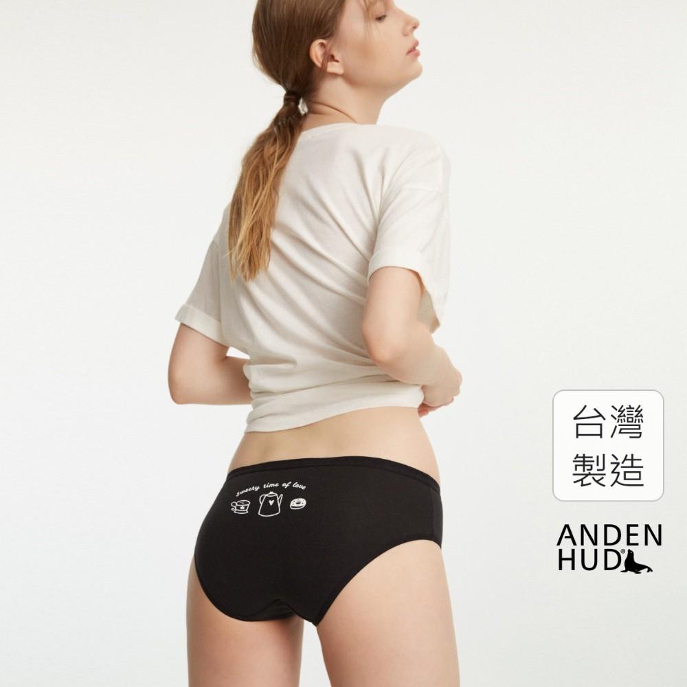 【Anden Hud】抗菌系列.緊帶中腰三角內褲(黑-午茶時刻) 台灣製