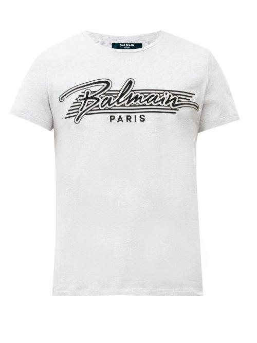 Balmain - Flocked-logo Cotton-jersey T-shirt - Mens - Grey