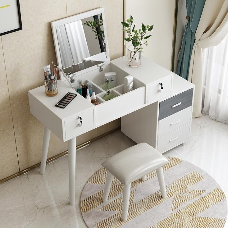 【快速出貨】化妝桌臥室梳妝台收納櫃一體小戶型現代簡約北歐化妝台網紅化妝桌子 聖誕禮物